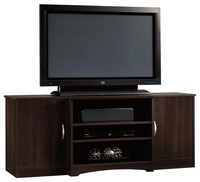 Sauder Beginnings Entertainment Credenza in Cinnamon Cherry - Transitional - Media Storage - by ...