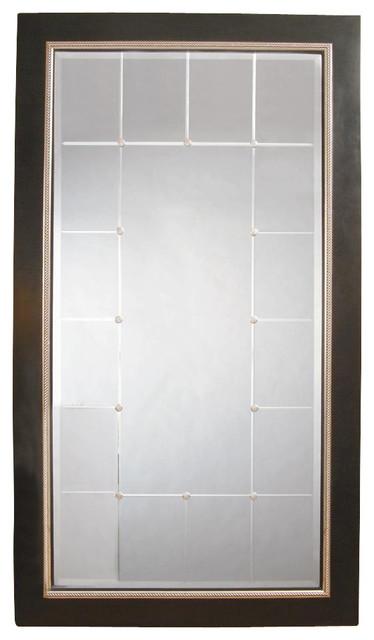 Beveled full length floor mirror in black beaded silver for Silver floor length mirror