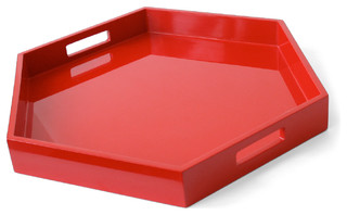 Lacquer Hexagon Tray, Red