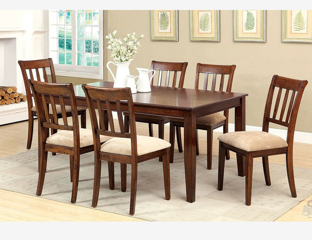 F 7 pc brown cherry wood dining room set chairs fabric for All wood dining room sets
