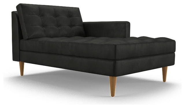 Eliot leather single arm chaise brighton black black for Black chaise lounge indoor
