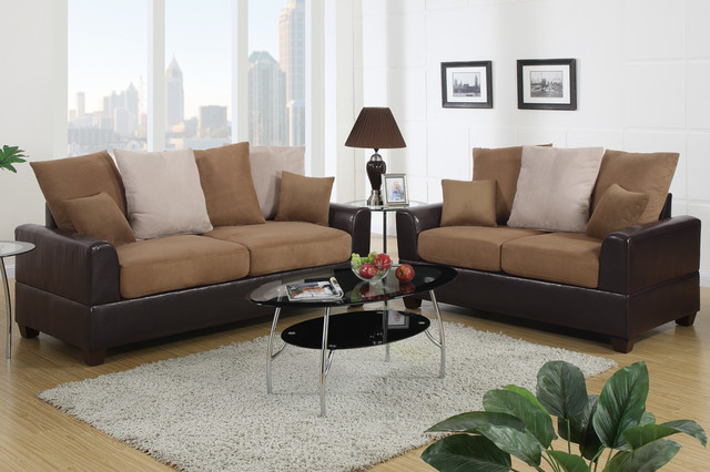 Saddle microfiber leather sofa couch loveseat living room - Houzz living rooms with sectionals ...