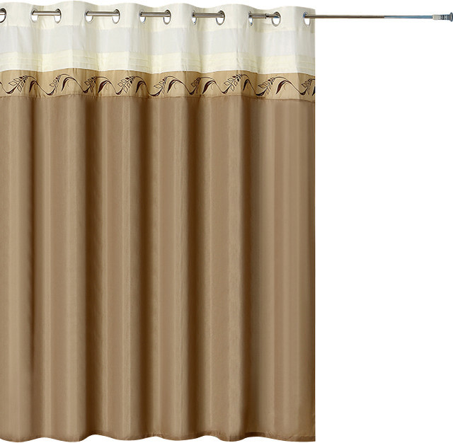 Lavish Home Abilene Embroidered Shower Curtain W Grommets Contemporary Shower Curtains By