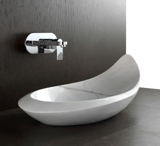 Komo designer natural white stone basin modern for Designer bathroom sinks basins