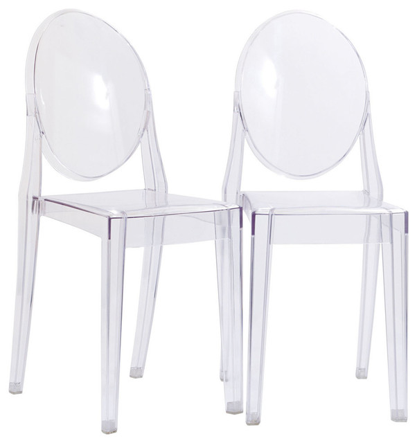 Clear Kitchen Chairs: Modern Urban Kitchen Clear Dining Chairs Set Of 2 Black