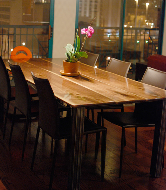 Black Walnut Dining Table With Square Steel Legs Modern Dining Tables P