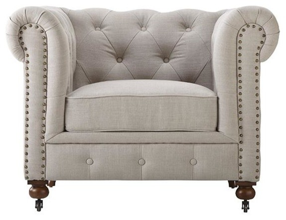 Gordon Tufted Leather Chair 32 Hx42 5 W Beige Traditional Sofas By Home Decorators