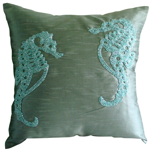 Blue Beaded Throw Pillows : Beaded Sea Horse Art Silk Blue Pillow Covers, Sea Horse - Mediterranean - Decorative Pillows ...