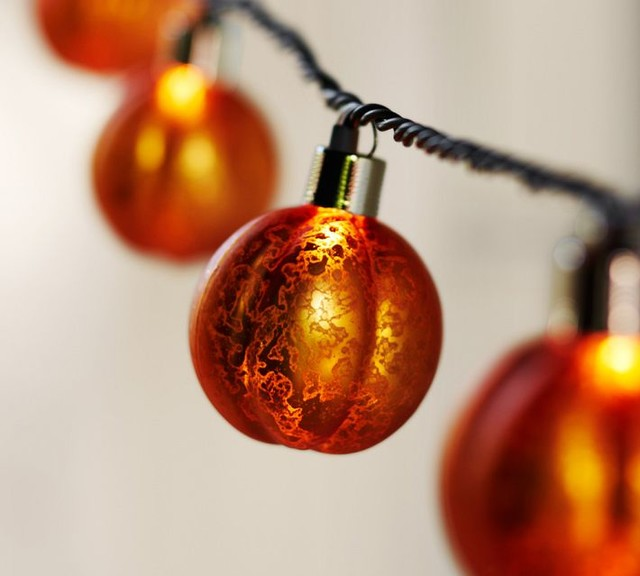 Orange Mercury Glass Pumpkin String Lights Traditional