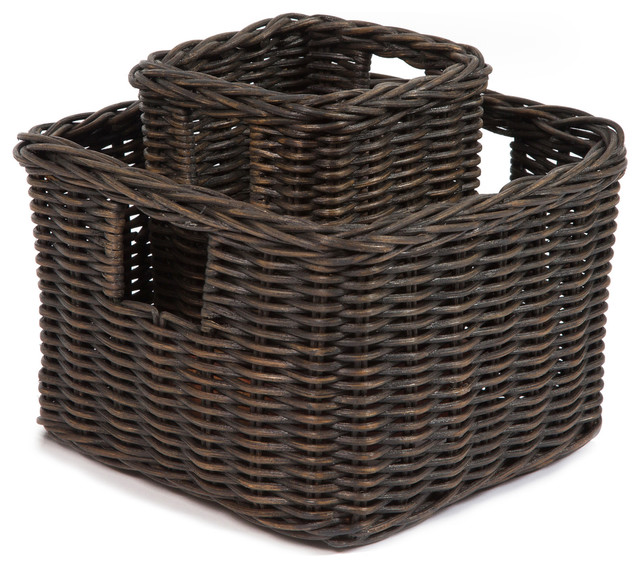 Traditional Small Wicker Basket With Liner&handle : Low square wicker shelf basket small traditional