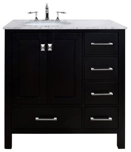 36 Malibu Espresso Single Sink Bathroom Vanity Without Cabinet Or Mirr