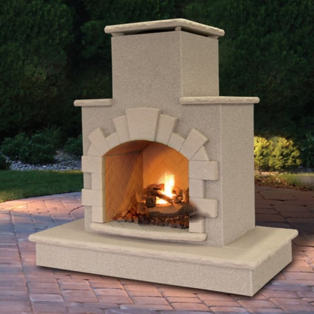 Cal Flame Outdoor Fireplace With Arch Frp908 1 Hn Contemporary Outdoor Fireplaces