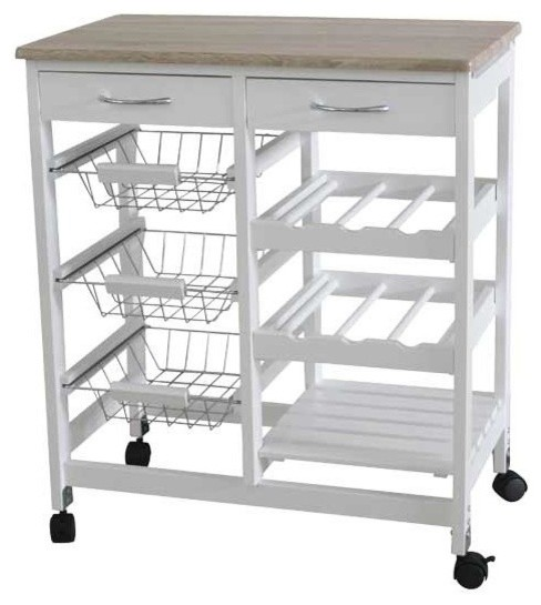 Kitchen Trolley With 2 Drawers And Baskets Farmhouse Kitchen Islands And Kitchen Carts By