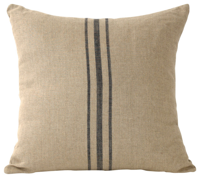 Linen Striped Pillow, Blue - Farmhouse - Decorative Pillows - other metro - by Zentique, Inc.