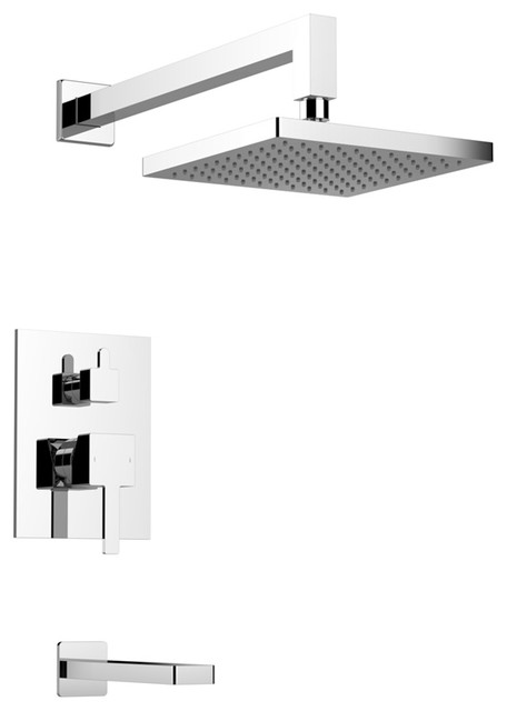 Milo Shower Set Two Functions Brushed Nickel Modern Tub And Shower Fauc