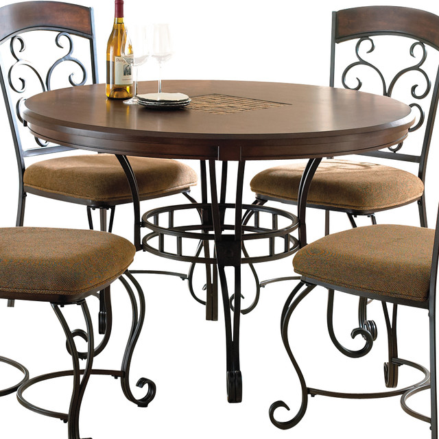 Steve silver greco round dining table in cherry with black for Traditional dining table bases