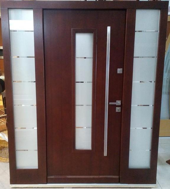 Model 026 Modern Front Entry Door W 2 Sidelights Size W
