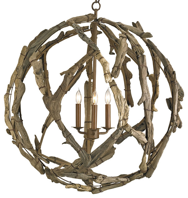 Currey And Company Orb Chandelier: Driftwood Orb Chandelier