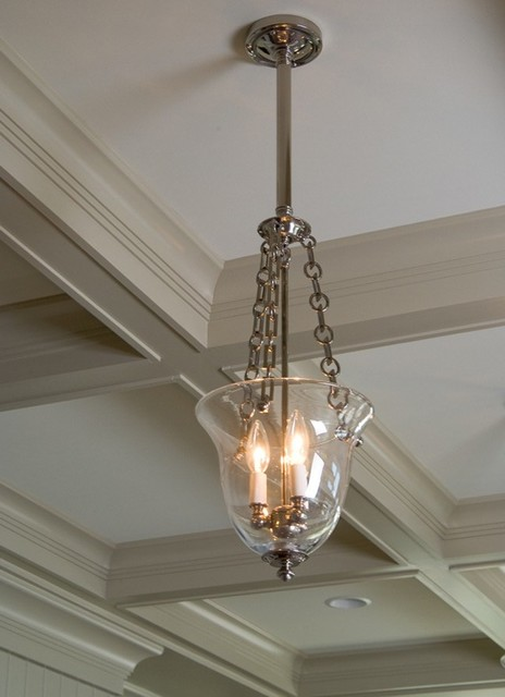 Bell Jar Light Fixture Close Up Traditional Ceiling