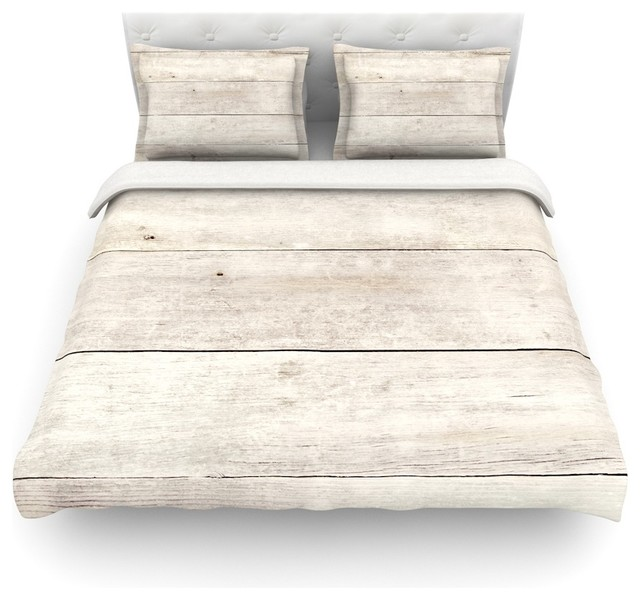 "Susan Sanders ""White Wash Wood"" Beige White Duvet Cover Cotton Tw"