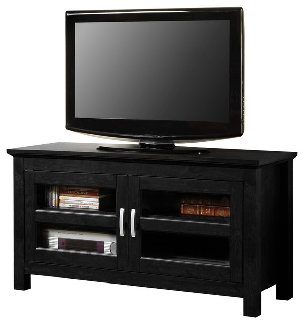 44 Black Wood TV Stand Console