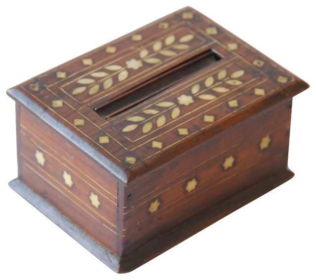 Decorative Boxes And Trays : Inlaid wood cigarette box w tray contemporary