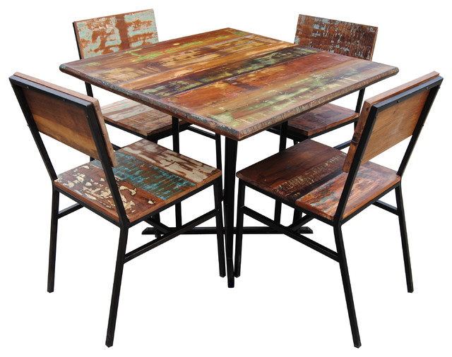 square reclaimed wood dining table in your place