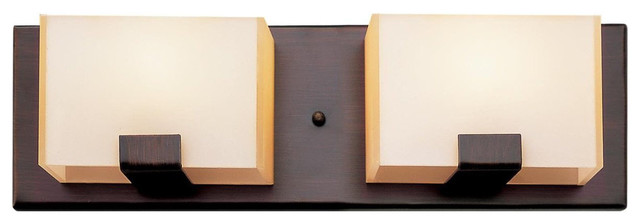 Rubbed Oil Bronze And Acrylic Cube 2-Light Vanity Fixture