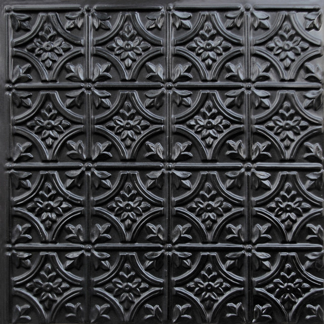 150 faux tin ceiling tile glue up 24x24 black ceiling for Black tin backsplash
