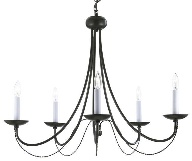 Versailles Wrought Iron 5-Light Chandelier, Black ...