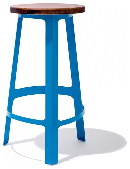 Abode Barstool Blue Contemporary Bar Stools And