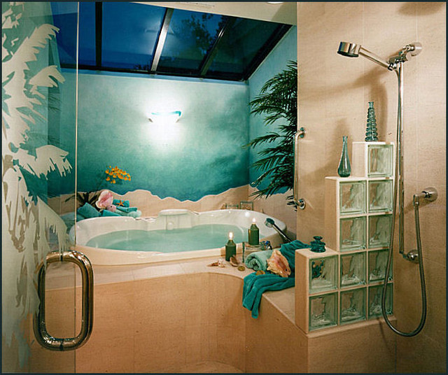 Dolphin Bathroom Tiles: Modern Tropical Master Suite (Shower With Dolphins