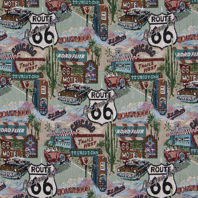 route 66 motels diners gas pumps theme tapestry upholstery fabric by the yard contemporary. Black Bedroom Furniture Sets. Home Design Ideas