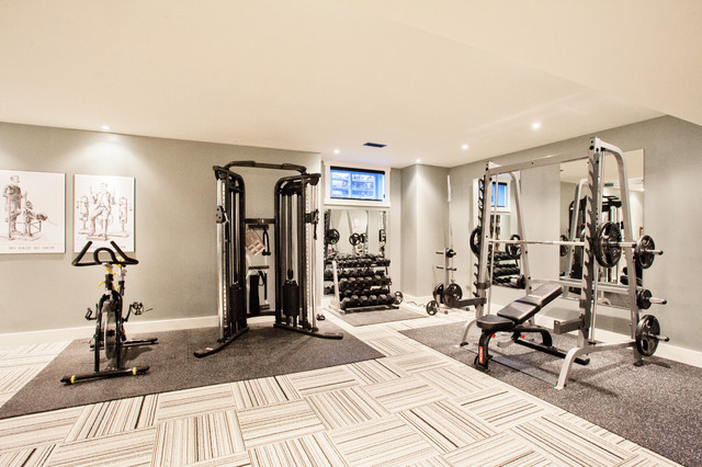 Funky Fresh Basement Contemporary Home Gym Other