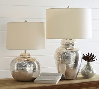 Pierce Short Round Lamp Base, Antique Silver finish - Traditional ...