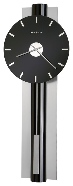 Howard Miller Contemporary Pendulum Wall Clock In Brushed Nickel Hudson Contemporary Wall