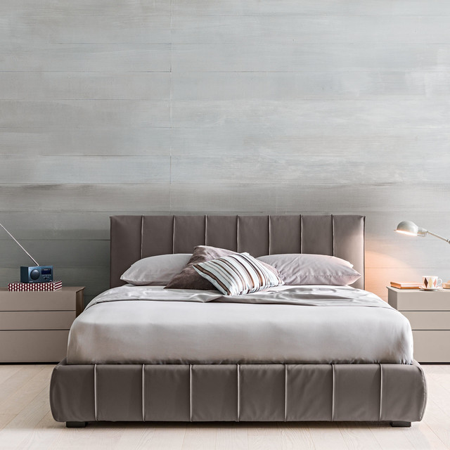 Padded headboard upholstered bed frame gaya by for Upholstered divan bed