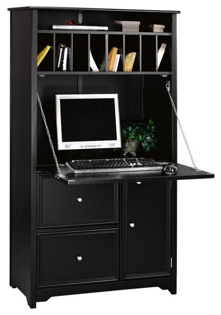 Oxford Tall Secretary Desk Black Transitional Desks And Hutches By Luxe Home Collection