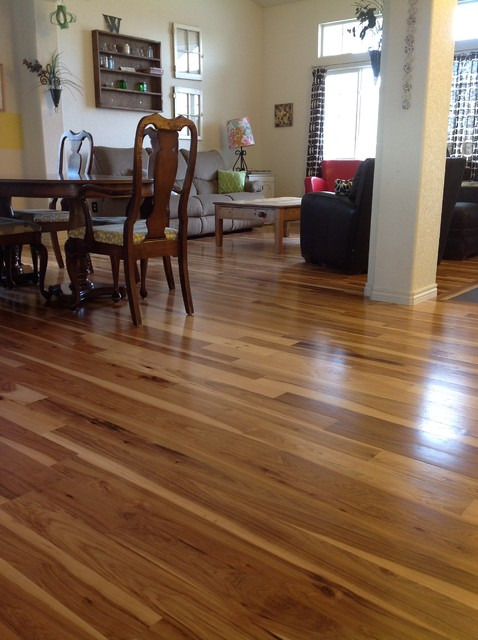 Hickory flooring traditional family room denver by for Traditional flooring