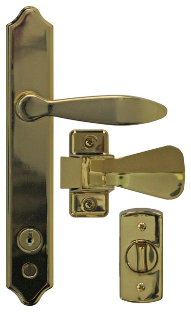 Deluxe Storm Door Handle Set With Deadbolt Brass E Coat
