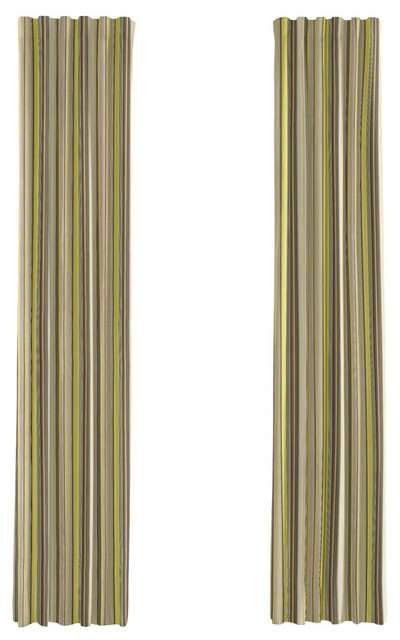 Purple And Green Striped Curtain Single Panel Ring Top Modern Curtains By Loom Decor