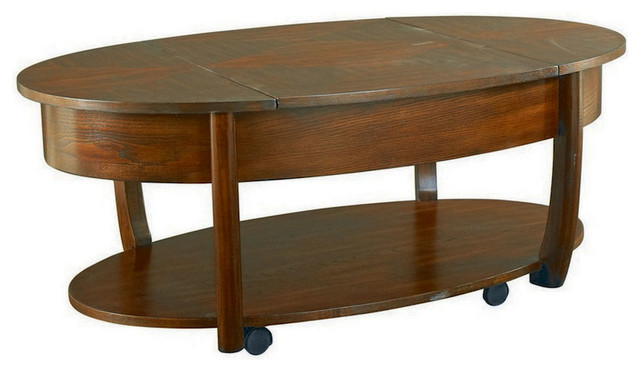Hammary Concierge Oval Lift Top Cocktail Table W Casters