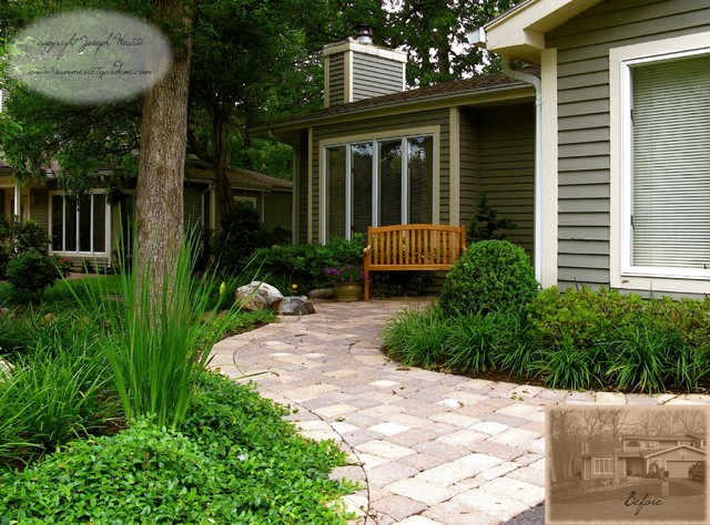Front yard walkway landscaping traditional landscape for Landscape design new york