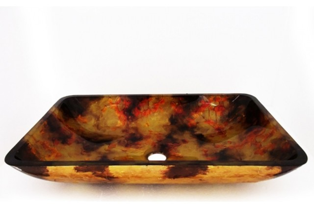 Colored Vessel Sinks : ... Colored Rectangular Glass Vessel Sink 146 contemporary-bathroom-sinks