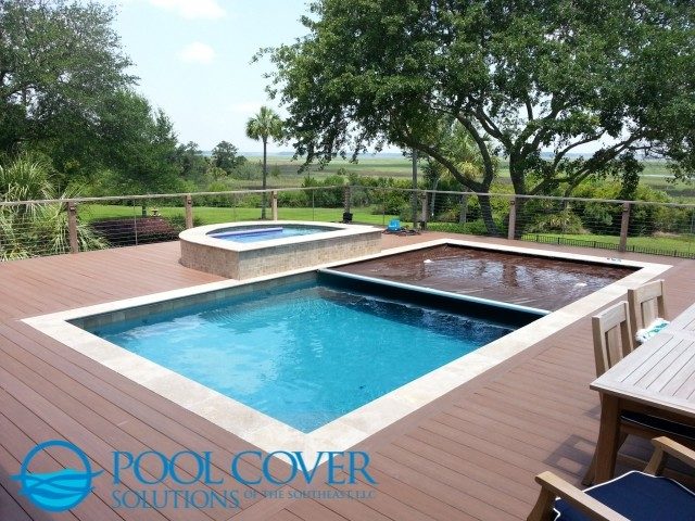 Wood Deck Automatic Pool Cover And Spa Traditional