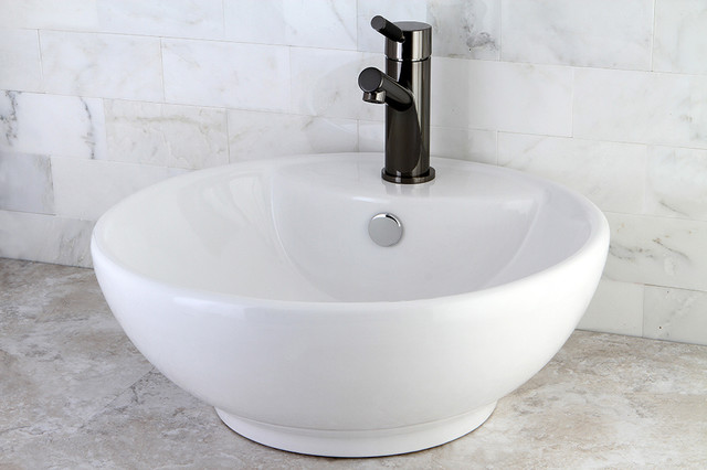Round White Vitreous China Vessel Sink Contemporary Bathroom Sinks By