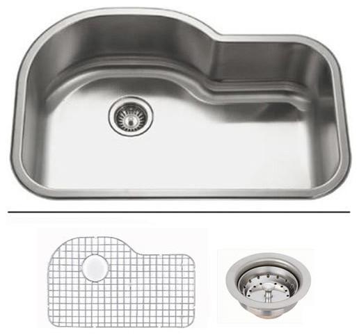 32 Inch Undermount Kitchen Sink: 32 Inch Undermount Offset Single Bowl Kitchen Sink With