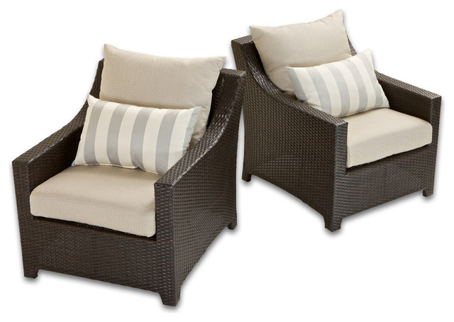 Deco set of 2 club chairs with bliss blue cushions by rst brands contemporary outdoor lounge - Deco lounge eetkamer modern ...
