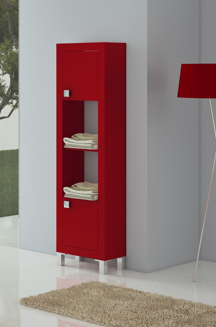 bathroom linen cabinet red matt lacquered modern bathroom cabinets