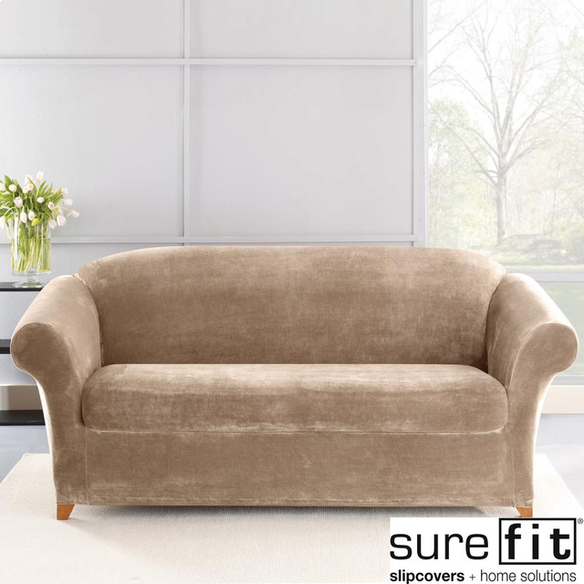 Stretch Plush Sable Sofa Slipcover Contemporary Sofas By